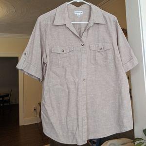 Croft&Borrow Kahki Collared Shirt Tan Linen